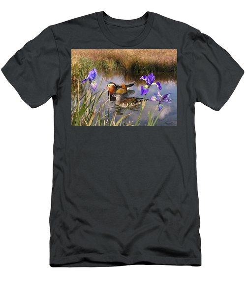 Mandarin Ducks And Wild Iris Men's T-Shirt (Athletic Fit)