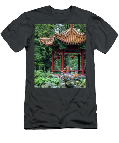 Mandarin Ducks At Pavilion Men's T-Shirt (Athletic Fit)