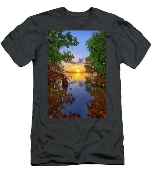Mangrove Sunset From Jensen Beach Florida Men's T-Shirt (Slim Fit) by Justin Kelefas