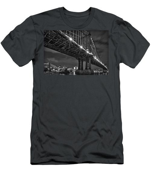 Manhattan Bridge Frames The Brooklyn Bridge Men's T-Shirt (Athletic Fit)