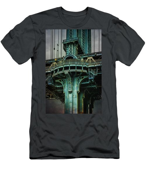 Men's T-Shirt (Athletic Fit) featuring the photograph Manhattan Bridge Tower by Chris Lord