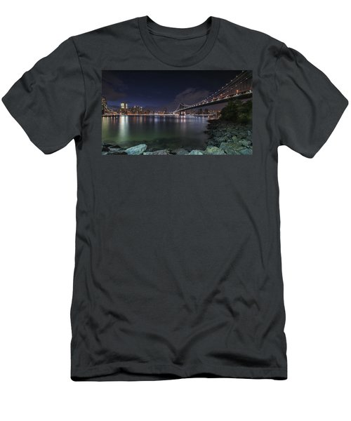 Manhattan Bridge Twinkles At Night Men's T-Shirt (Athletic Fit)