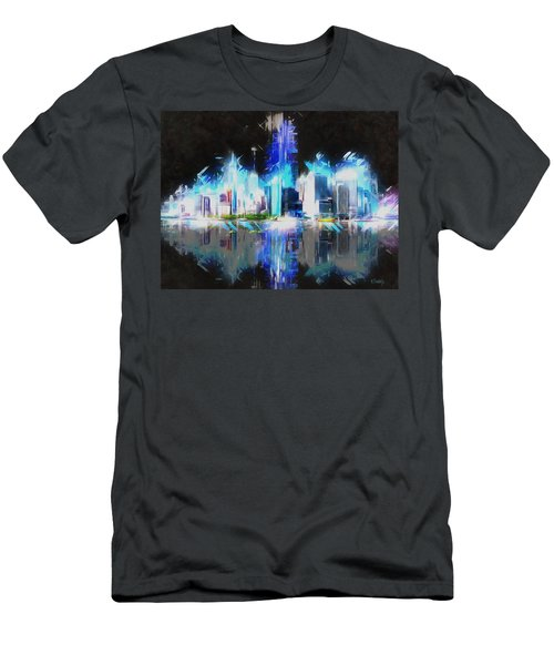 Men's T-Shirt (Slim Fit) featuring the painting Manhattan Downtown Lights by Kai Saarto