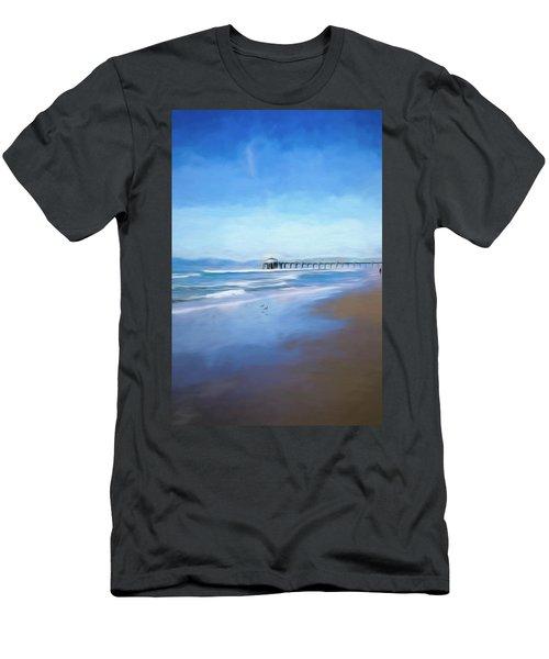 Men's T-Shirt (Athletic Fit) featuring the photograph Manhattan Pier Blue Art by Michael Hope