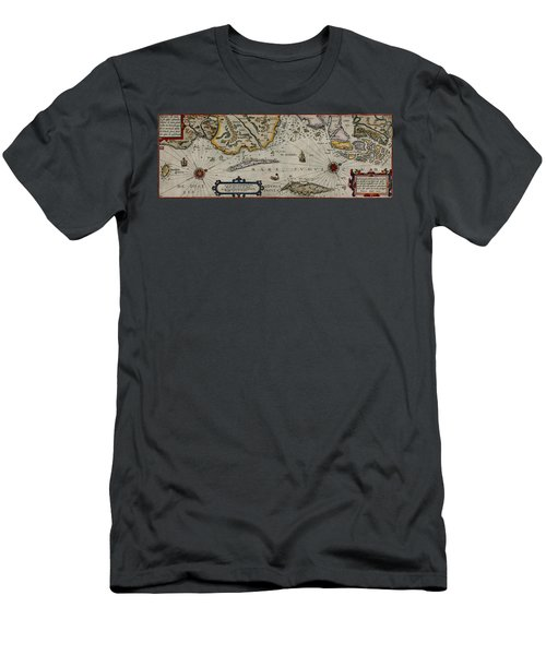 Map Of Sweden 1606 Men's T-Shirt (Slim Fit) by Andrew Fare