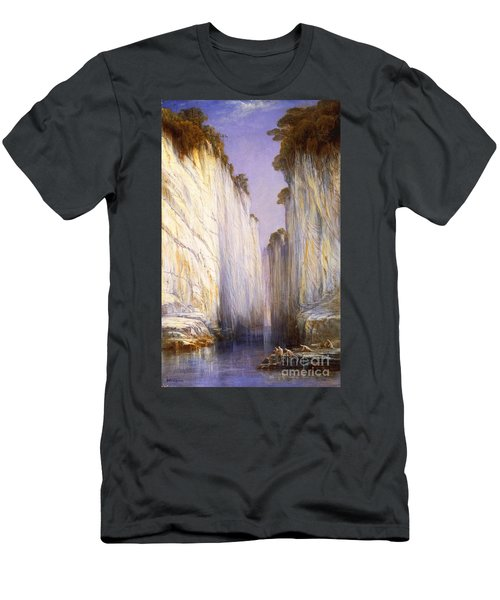 Men's T-Shirt (Slim Fit) featuring the painting Marble Rocks - Nerbudda Jubbulpore by Pg Reproductions