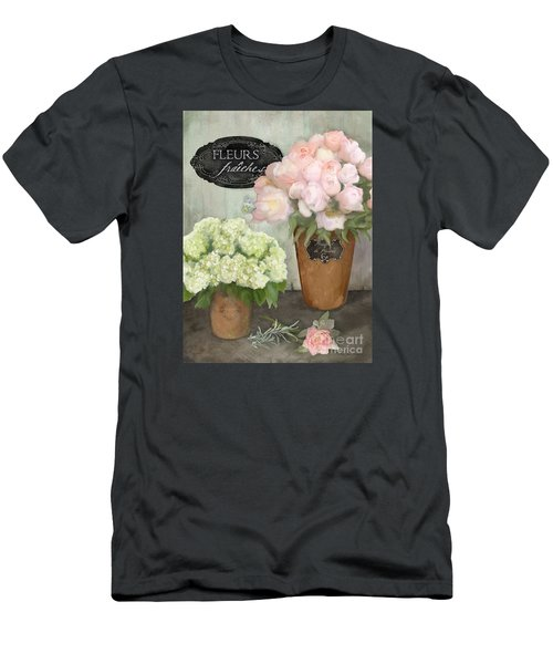 Men's T-Shirt (Athletic Fit) featuring the painting Marche Aux Fleurs 2 - Peonies N Hydrangeas by Audrey Jeanne Roberts