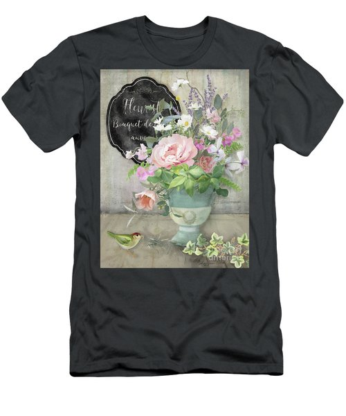 Men's T-Shirt (Athletic Fit) featuring the painting Marche Aux Fleurs 3 Peony Tulips Sweet Peas Lavender And Bird by Audrey Jeanne Roberts