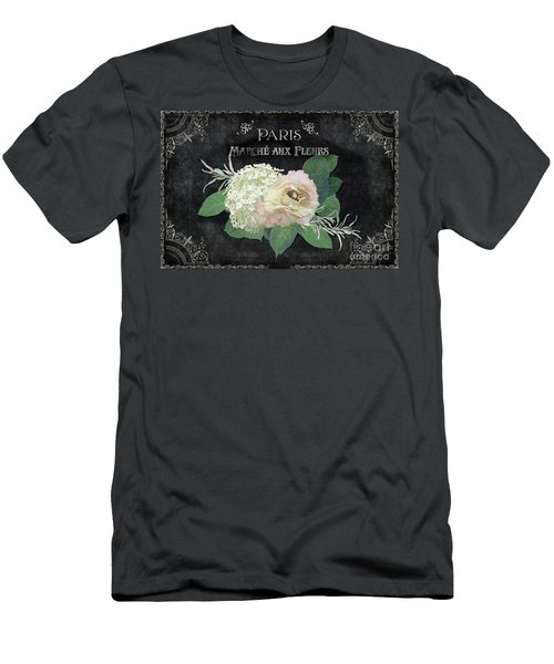 Men's T-Shirt (Athletic Fit) featuring the painting Marche Aux Fleurs 4 Vintage Style Typography Art by Audrey Jeanne Roberts