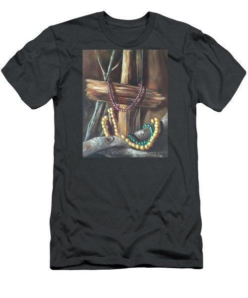 Men's T-Shirt (Slim Fit) featuring the painting Mardi Gras Beads And Hurricane Katrina by Randol Burns