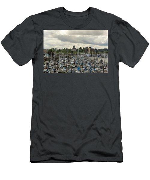 Marina In Olympia Washington Waterfront Moorage Men's T-Shirt (Athletic Fit)