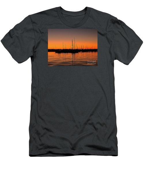 Marina Moonlight Masts Men's T-Shirt (Slim Fit) by Shelia Kempf