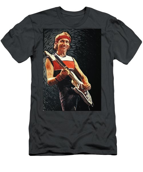 Men's T-Shirt (Athletic Fit) featuring the painting Mark Knopfler by Taylan Apukovska