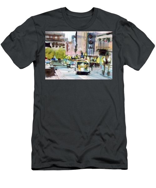 Men's T-Shirt (Slim Fit) featuring the painting Market Street by Ed Heaton