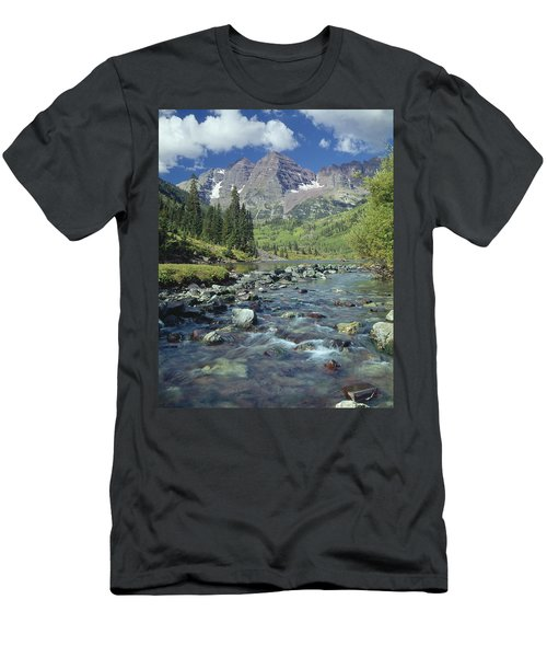210404-maroon Bells And Creek  Men's T-Shirt (Athletic Fit)