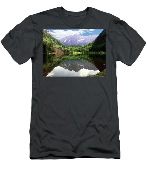 Men's T-Shirt (Slim Fit) featuring the photograph Maroon Bells  by Jerry Battle