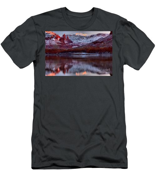 Men's T-Shirt (Slim Fit) featuring the photograph Maroon Fisher Towers by Adam Jewell