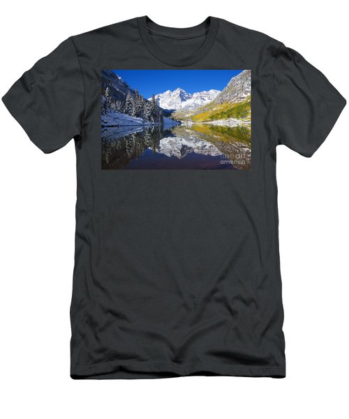 Maroon Lake And Bells 1 Men's T-Shirt (Slim Fit) by Ron Dahlquist - Printscapes