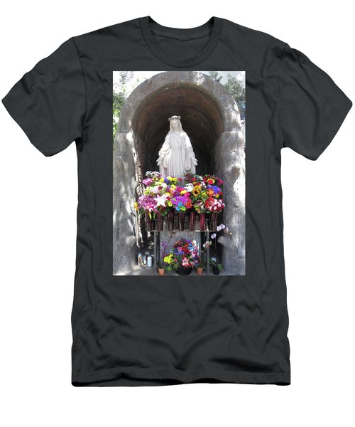Mary At The Mission Men's T-Shirt (Slim Fit) by Mary Ellen Frazee