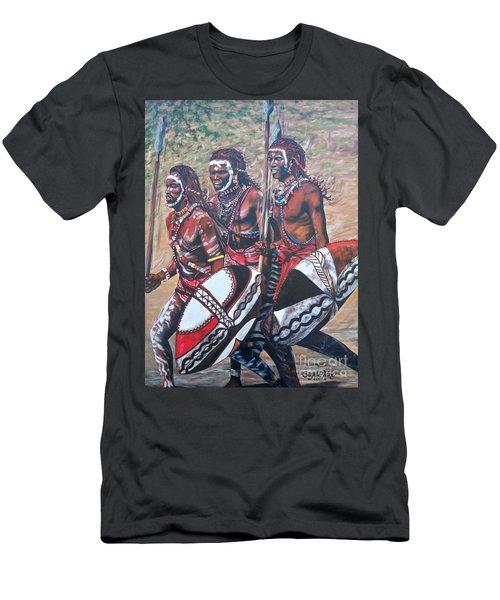 Men's T-Shirt (Slim Fit) featuring the painting Masaai Warriors by Sigrid Tune