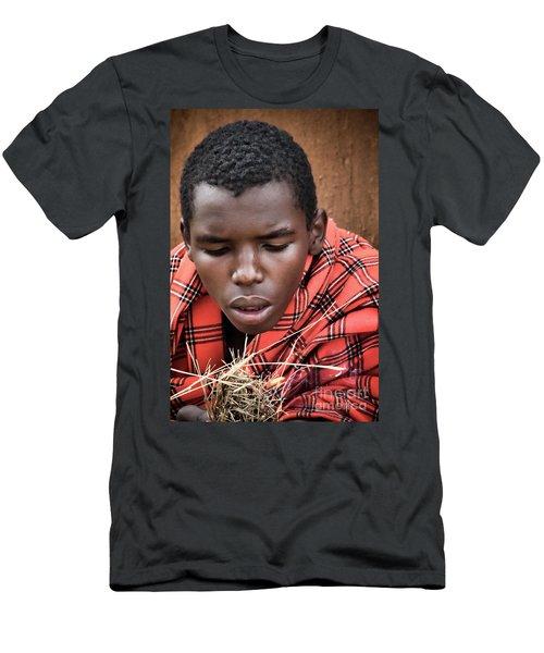 Men's T-Shirt (Slim Fit) featuring the photograph Masai Firemaker by Karen Lewis