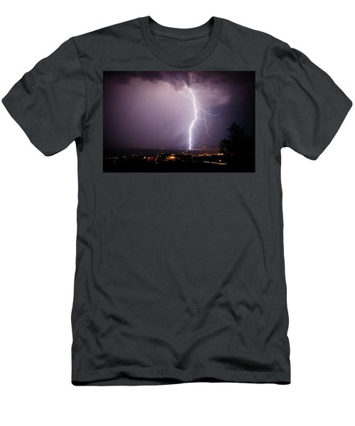 Men's T-Shirt (Slim Fit) featuring the photograph Massive Lightning Storm by Ron Chilston