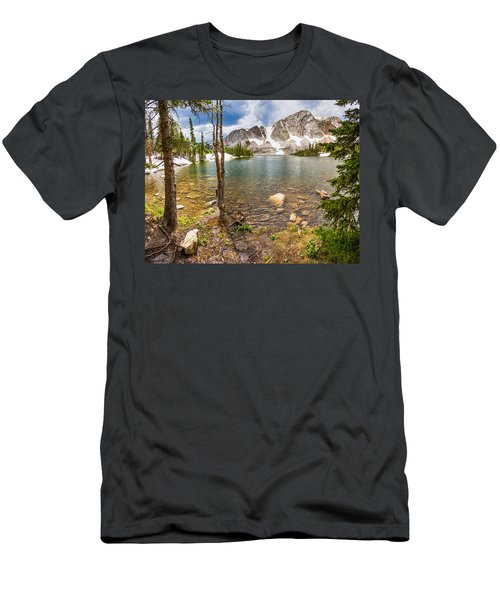 Medicine Bow Snowy Mountain Range Lake View Men's T-Shirt (Athletic Fit)