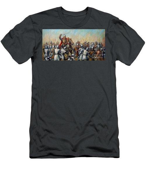Medieval Battle Men's T-Shirt (Slim Fit) by Arturas Slapsys