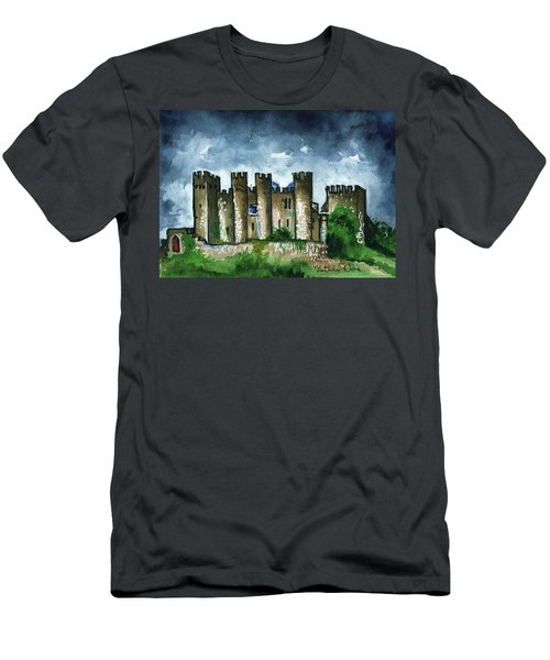 Men's T-Shirt (Athletic Fit) featuring the painting Medieval Castle Before Storm by Dora Hathazi Mendes