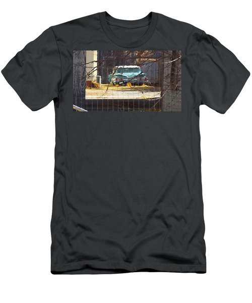 Men's T-Shirt (Athletic Fit) featuring the digital art Memories Of Old Blue, A Car In Shantytown.  by Shelli Fitzpatrick