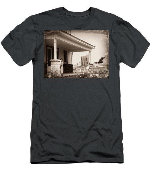 Mennonite Girl Hanging Laundry Men's T-Shirt (Athletic Fit)