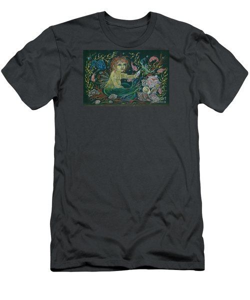 Merbaby Golden Green Men's T-Shirt (Slim Fit) by Dawn Fairies