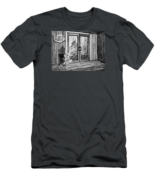 Men's T-Shirt (Slim Fit) featuring the painting Mercier Orchard's Cider In Bw by Gretchen Allen