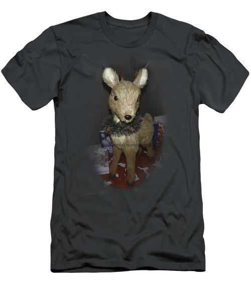 Merry Christmas Deer Men's T-Shirt (Slim Fit) by Judy Hall-Folde