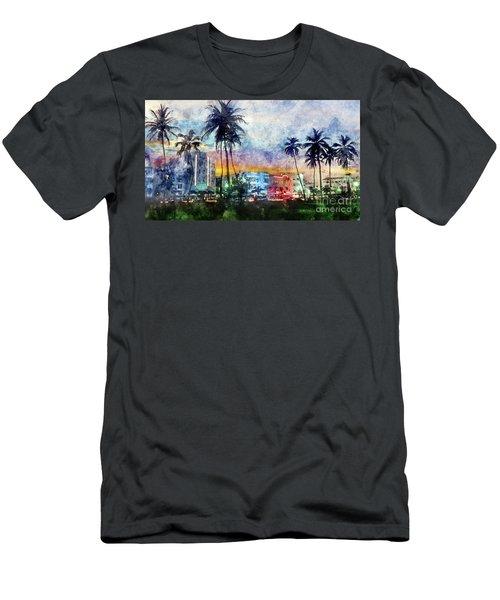 Miami Beach Watercolor Men's T-Shirt (Slim Fit) by Jon Neidert