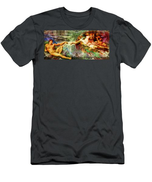 Michelangelo The Creation Of Adam In Abstract Space 20150622 Men's T-Shirt (Athletic Fit)