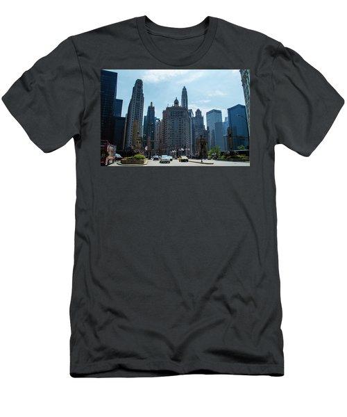 Michigan Avenue Bridge And Skyline Chicago Men's T-Shirt (Slim Fit) by Deborah Smolinske