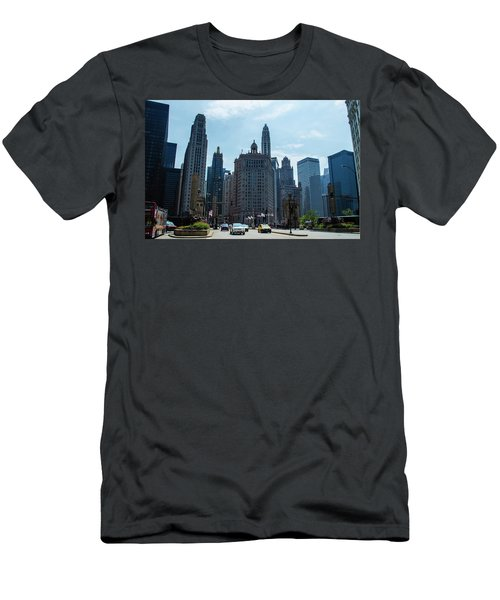 Michigan Avenue Bridge And Skyline Chicago Men's T-Shirt (Athletic Fit)