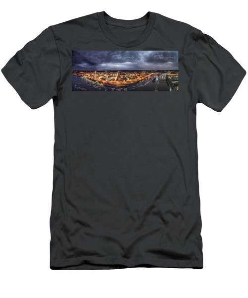 Men's T-Shirt (Slim Fit) featuring the photograph Middletown Connecticut, Twilight Panorama by Petr Hejl