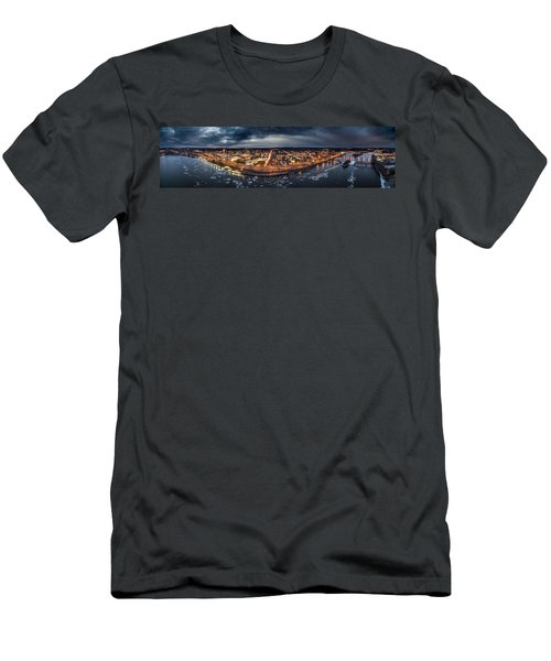 Men's T-Shirt (Slim Fit) featuring the photograph Middletown Ct, Twilight Panorama by Petr Hejl