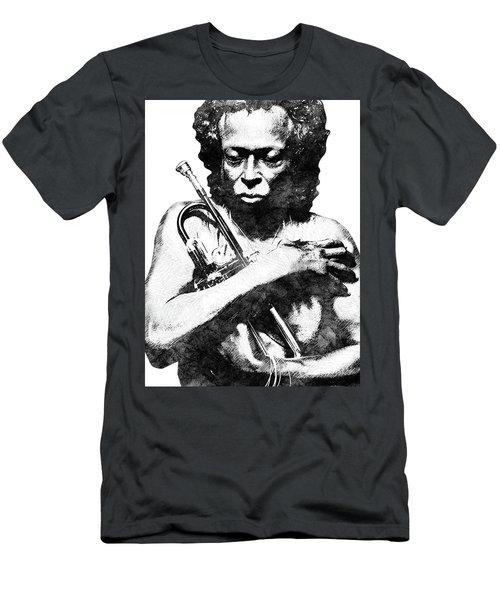 Miles Davis Bw  Men's T-Shirt (Slim Fit) by Mihaela Pater