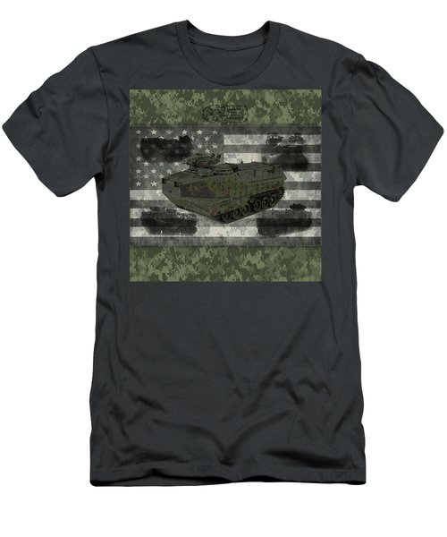 Military Aav Vehicle Digital Camo With American Flag Men's T-Shirt (Athletic Fit)