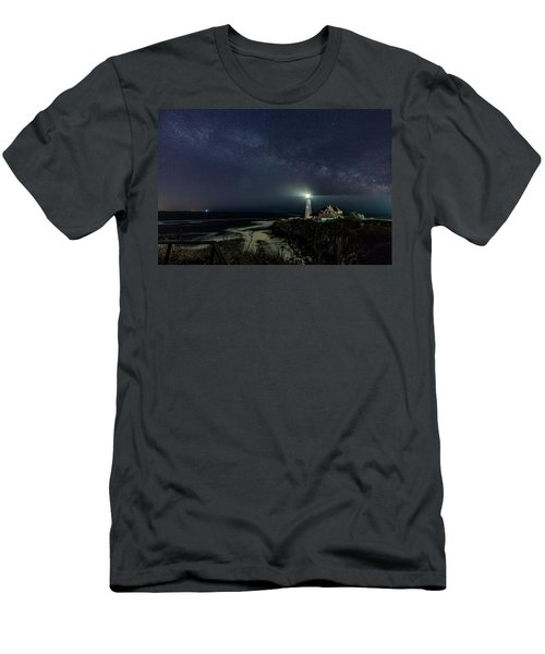 Milky Way At Portland Head Light Men's T-Shirt (Athletic Fit)