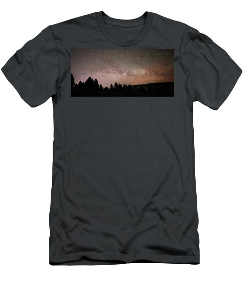 Milky Way Over Mammoth Hot Springs With Pink Glow From Aurora Borealis Men's T-Shirt (Athletic Fit)
