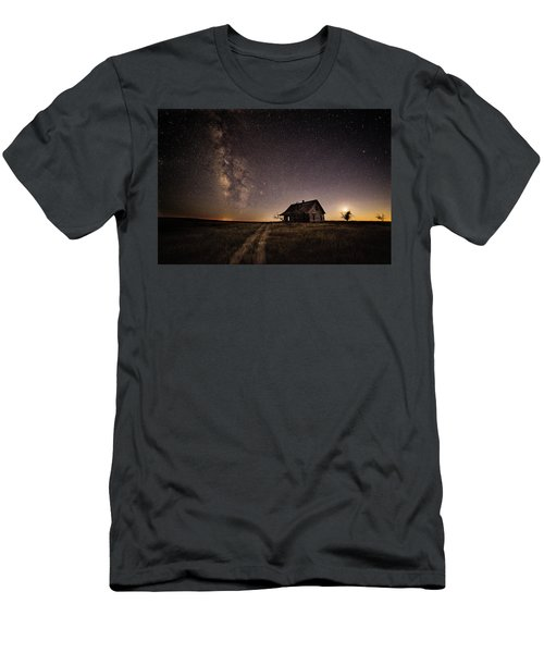Men's T-Shirt (Slim Fit) featuring the photograph Milky Way Over Prairie House by Kristal Kraft
