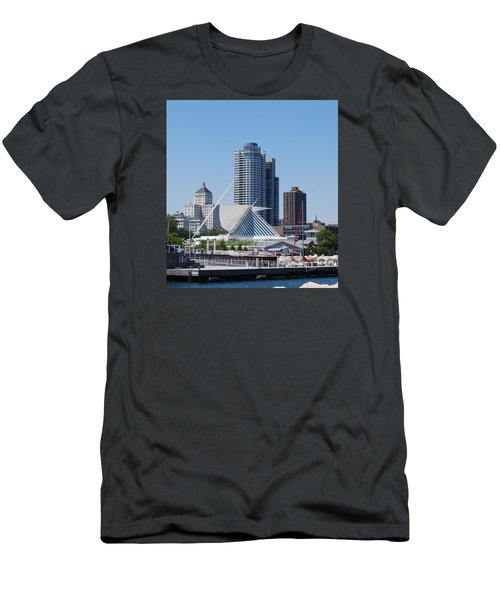 Men's T-Shirt (Slim Fit) featuring the photograph Milwaukee, Wi Shoreline by Ramona Whiteaker