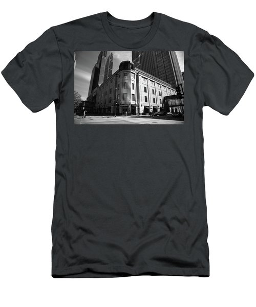 Men's T-Shirt (Slim Fit) featuring the photograph Minneapolis Downtown Bw by Frank Romeo