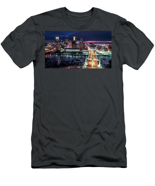 Minneapolis Skyline From The Mississippi River Men's T-Shirt (Athletic Fit)