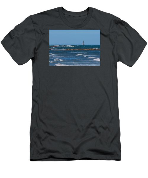 Minot Lighthouse Wave Crash Men's T-Shirt (Slim Fit) by Brian MacLean