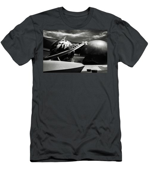 Men's T-Shirt (Slim Fit) featuring the photograph Mission Space Black And White by Eduard Moldoveanu